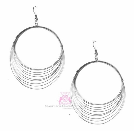 Fine Lightweight Silvertone Layered Wire Hoop Earrings