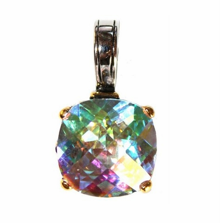 Fire Aurora Borealis Throne Room Rainbow Ice Cushion Cut Pendant