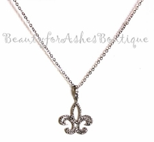 BEAUTY FOR ASHES FRENCH FLEUR DE LIS CZ NECKLACE