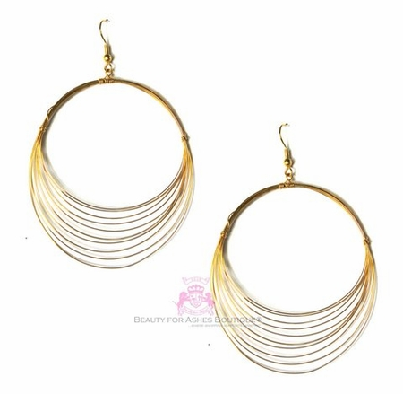 Fine Lightweight Goldtone Layered Wire Hoop Earrings