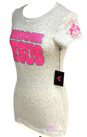 Grey Pink Choose Jesus Be Saved Short Sleeve T-Shirt