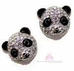 Panda Bear Black and White Cz Enamel Post Earrings