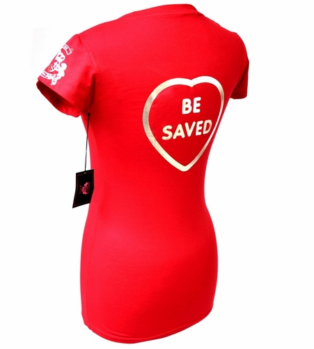 Beauty for Ashes Red Silver Foil Choose Jesus Be Saved T Shirt