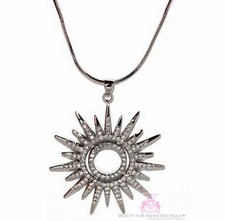 BEAUTY FOR ASHES SUNBURST SUN SOL SOLEIL STAR CZ NECKLACE