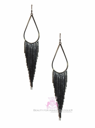 "BFA 6"" Teardrop Fringe Chandelier Hematite Tone Earrings"