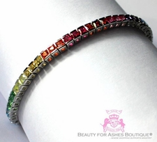 Womens Cz Princess Cut Rainbow Tennis Bracelet