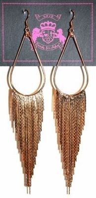 BFA Tear Teardrop Fringe Chandelier Gold Tone Earrings