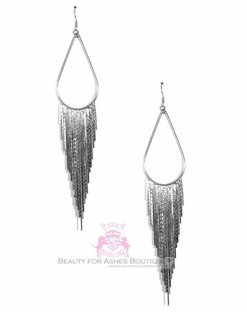 BFA Tear Teardrop Fringe Chandelier Silver Tone Earrings