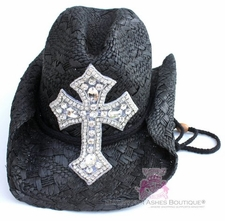Black Clear Crystal Cross Bling Western Cowboy Cowgirl Hat