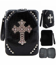 Black Faux Leather Rhinstone Cross Zippered Bible Cover