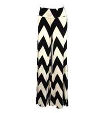 Black Ivory Chevron Zig Zag Palazzo Wide Leg Stretch Pants