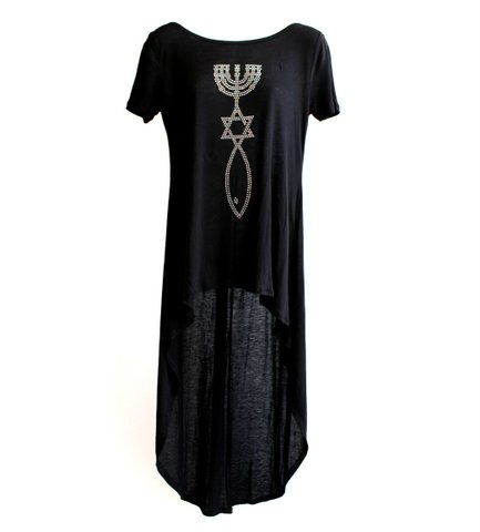 Black Messianic Embellishment T-Shirt with Long Back - More Color Options