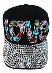 Black Multi Color Rhinestone Bling Heart Love Cap Hat