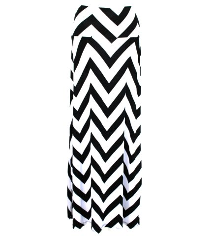 Black White Chevron Zig Zag Long Maxi Skirt