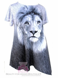 Black White Flowy Handkerchief Pocket Cuff Short Sleeve Lion Top