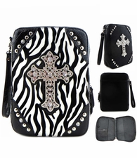 Black White Zebra Stiped Animal Print Cross Bible Case Cover