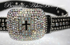 BLING CROSS BLACK BELT BUCKLE LEATHER AB CRYSTALS SM