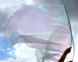 Ruah Breath of God Light Aqua Blue Iridescent Pearl Sheer Praise Worship Flags with Flex� Rods