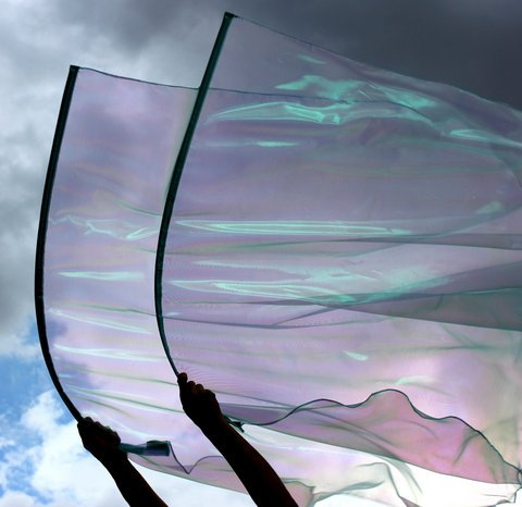 Ruah Breath of God Light Aqua Blue Iridescent Pearl Sheer Praise Worship Flags with Flex Rods