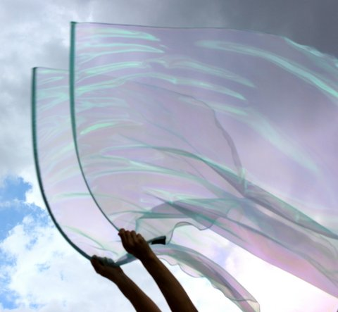 Ruah Breath of God Light Aqua Blue Iridescent Pearl Sheer Praise Worship Flags with Flex™ Rods
