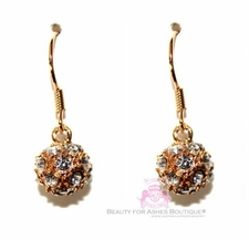Bridal Sphere Ball Goldtone Crystal Clear Drop Glam Earrings