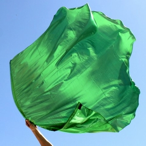 Solid Bright Green Healing for the Nations Worship Flag Set of 2 (Flexible Rod)