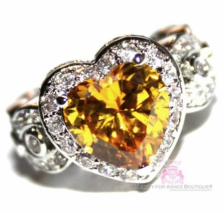 Canary Simulated Diamond Cz Heart for Jerusalem Ring