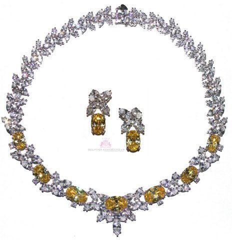 Canary Yellow Special Occasion Cubic Zirconia Necklace Set