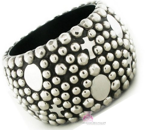 Chunky Cross Charm Studded Wood Bangle
