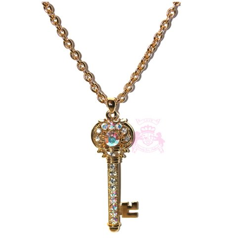 "3"" Chunky Gold Tone Aurora Borealis Crystal Crown Key Necklace"