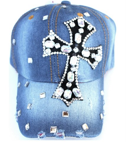 Clear Ab Crystal Cross Distressed Denim Jean Baseball Cap Hat