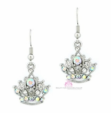 Clear Aurora Borealis Crystal Princess Crown Earrings