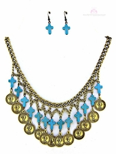 Coin Turquoise Cross Multi Strand Bib Necklace Set