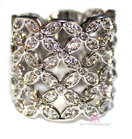 Country Lattice Lace Floral Wide Band