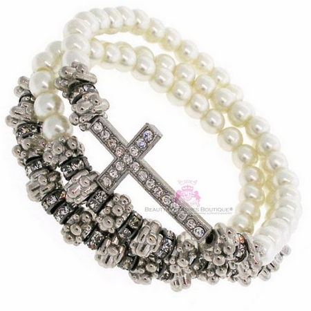 Creme Pearl Beaded  Wrap Layered Silver Crystal Cross Bracelet