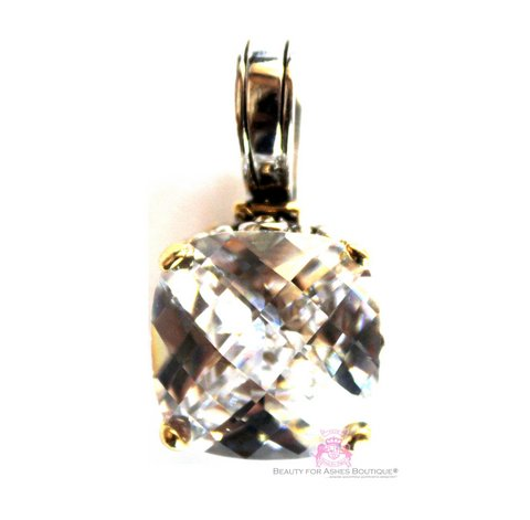 Crystal Clear Cz Checker Cut Throne Room Pendant