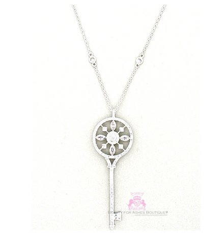 Cubic Zirconia Silvertone Cz Charm Long Fancy Key Necklace