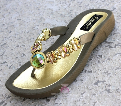 DRAGONFLY PERIDOT AB  TAUPE FLIP FLOP BLING SANDALS Size 10