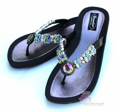 DRAGONFLY RAINBOW AB JEWELED BLACK BEADED FLIP FLOP BLING SANDALS