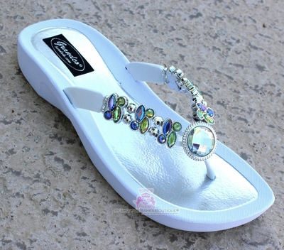 Rainbow 'Dragonfly' Ab Jeweled White Flip Flop Bling Sandals
