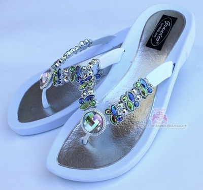 DRAGONFLY RAINBOW AB JEWELED WHITE FLIP FLOP BLING SANDALS