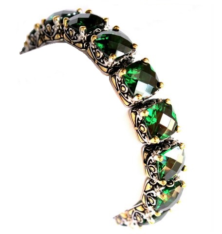 Emerald Green Two Tone Cubic Zirconia Throne Room Bracelet