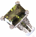 Tabernacle Evergreen Olivine and Clear CZ Ring