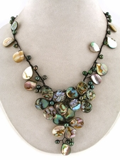 Abalone Mother of Pearl Lariat Bib Beach Resort Neckace
