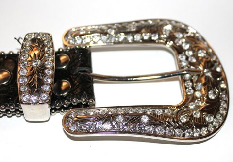 GENUINE LEATHER CROSS BELT RHINESTONE CRYSTAL STUDS