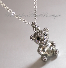 Girls Cute Teddy Bear Holding Cubic Zirconia Heart Necklace