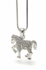 Girls Womens Silvertone Trotting Horse Clear Crystal Encrusted Necklace
