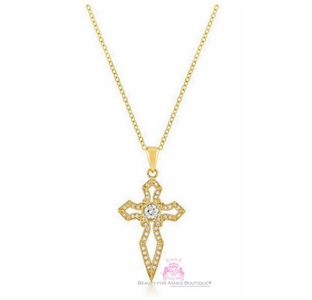 Girls Womens Sword Cz Yellow Gold Bonded Faith Cross Necklace