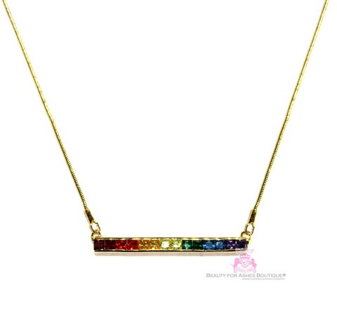 Gods Promise Rainbow Cubic Zirconia CZ Single Row Bar Necklace