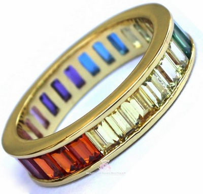 Gods Promise Rainbow Multi Color CZ Eternity Gold Band Ring